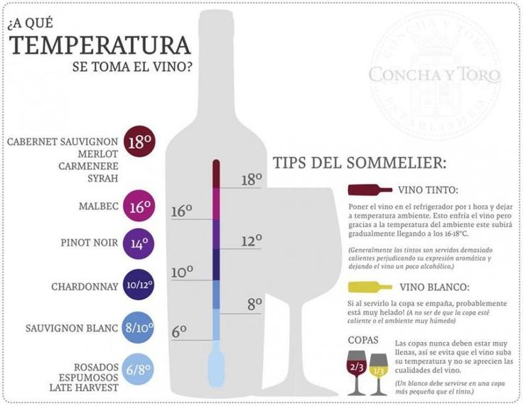A qué temperatura se sirve el vino