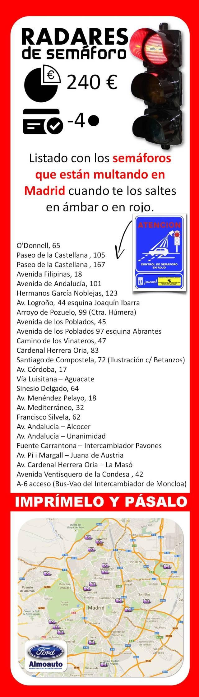 Radares de semáforo que multan en Madrid