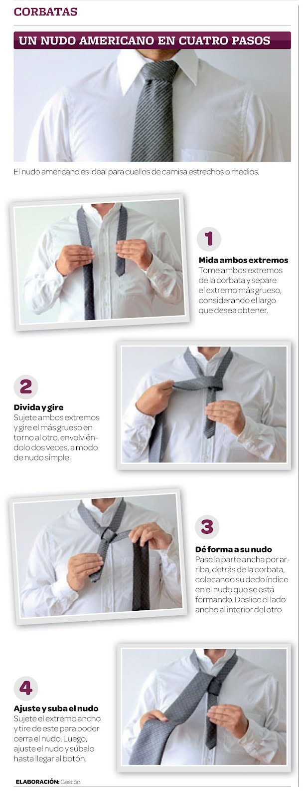 Nudo americano para tu corbata en 4 pasos
