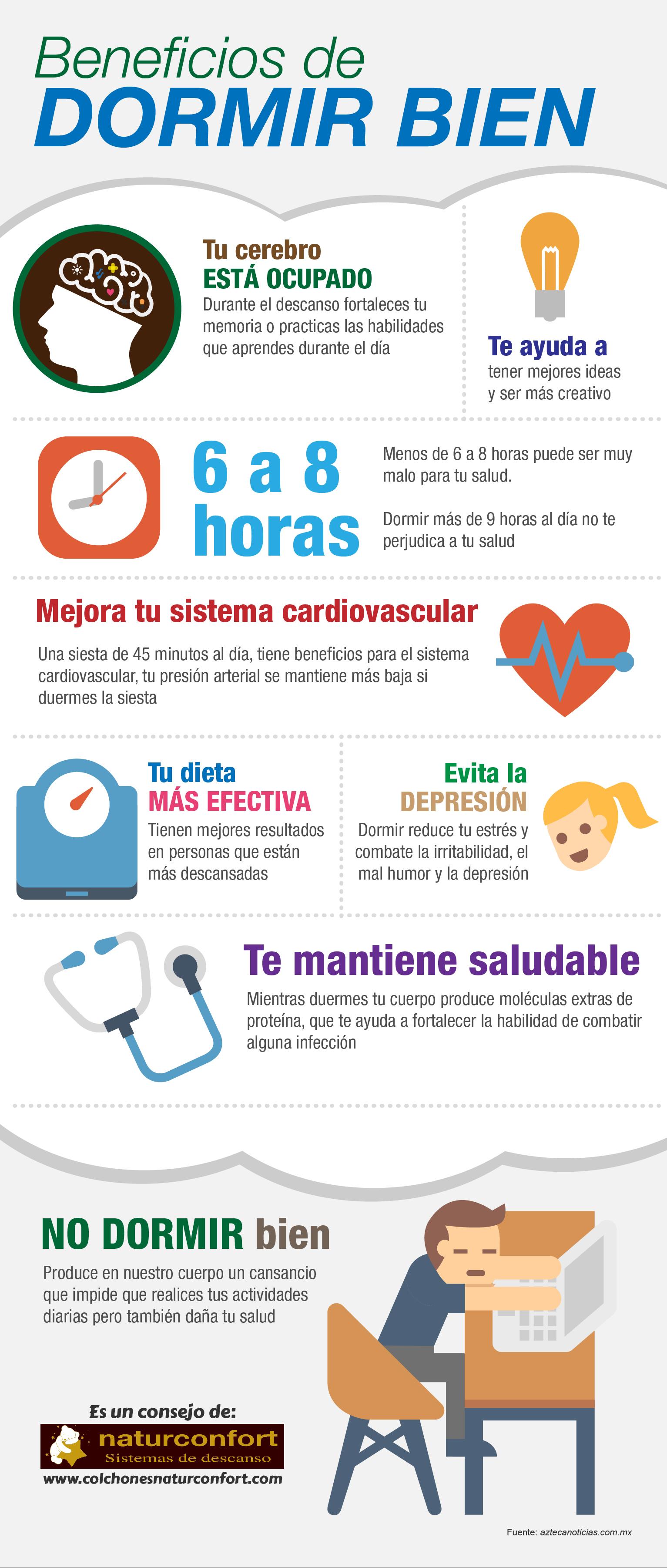 Beneficios de dormir bien infografia infographic health infograf as en castellano - Como descansar mejor ...