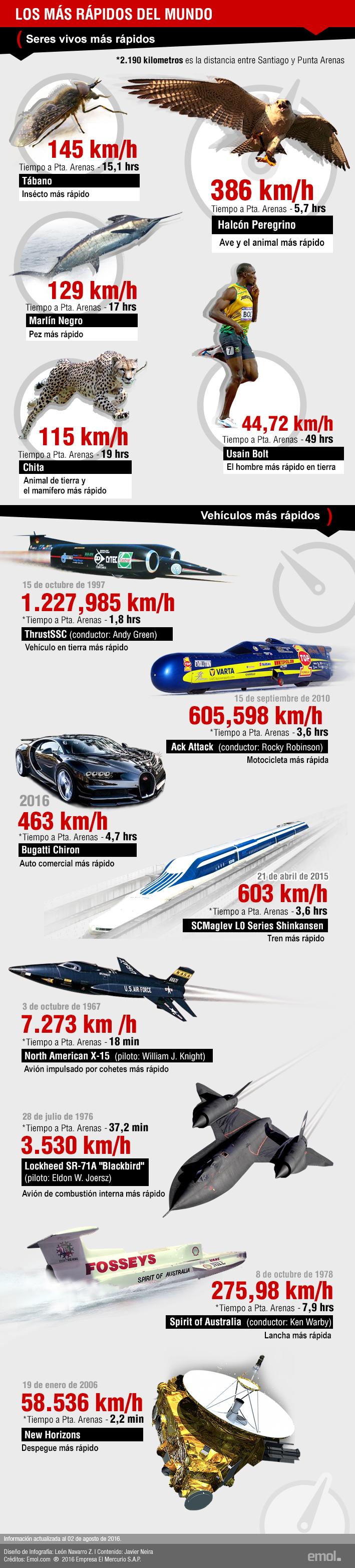 Seres vivos vs vehículos: los más rápidos del Mundo